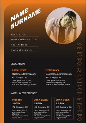 Creative Resume Template Self Introduction Powerpoint Sample
