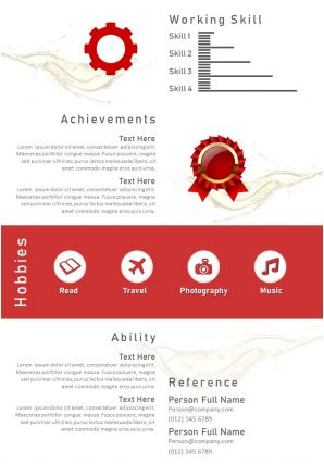 Creative Visual Resume Powerpoint Design A4 Template