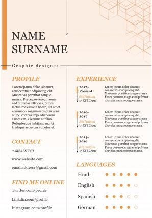 Creative Visual Resume Template For Graphic Designer Infographic