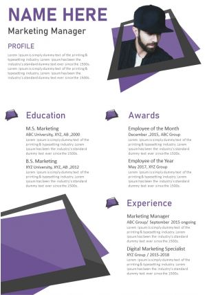 Creative Visual Resume Template For Marketing Manager Infographic