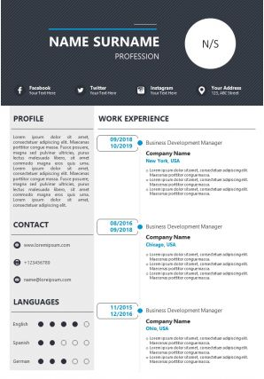 Curriculum Vitae Powerpoint Template For Job Application