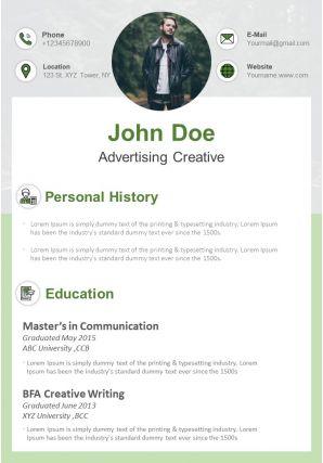 Curriculum Vitae Template Advertising Creative Resume