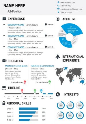 Curriculum Vitae Template Creative Resume With International Experience