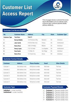 Customer List Access Report Presentation Report Infographic PPT PDF Document