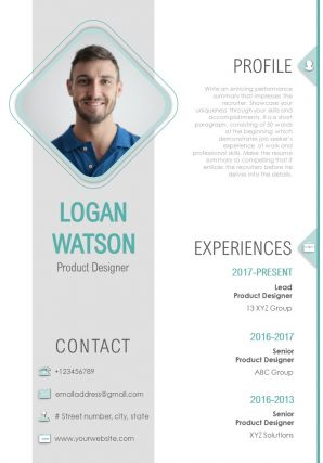 CV And Resume Layout For Product Designer