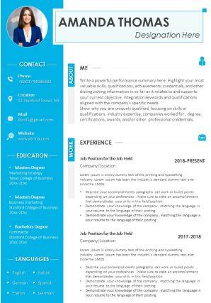 CV Design Template With Designation Rewards And Skills