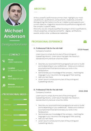 CV Format With Personal Details And Professional Skills