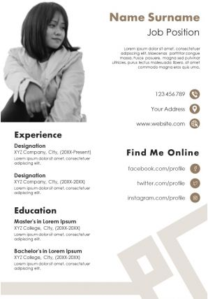 CV Resume Template With Skills And Abilities