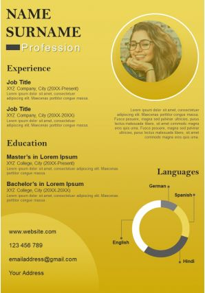 CV Self Introduction Resume A4 Powerpoint Design Layout