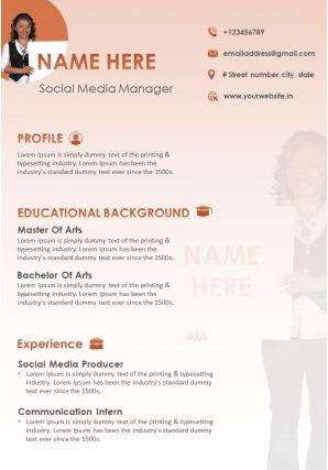 CV Social Media Manager Resume Marketing Profile