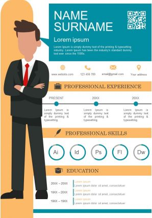 CV Visual Resume Template With Professional Skills