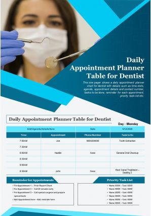 Daily Appointment Planner Table For Dentist Presentation Report Infographic PPT PDF Document