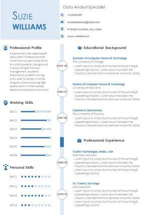 Data Analyst Sample Resume CV Template