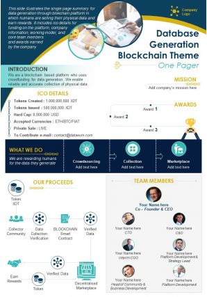 Database Generation Blockchain Theme One Pager Presentation Report Infographic PPT PDF Document