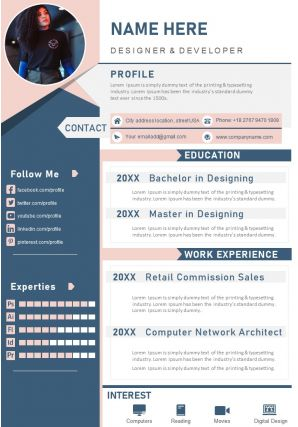 Designer And Developer Sample Resume Template