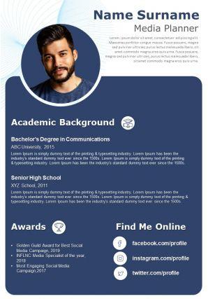 Digital Marketer Resume Template Media Planner CV A4 Download