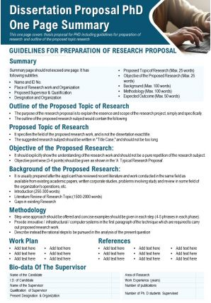 Dissertation Proposal PhD One Page Summary Presentation Report Infographic PPT PDF Document