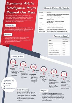 Ecommerce Website Development Project Proposal One Pager Presentation Report Infographic PPT PDF Document
