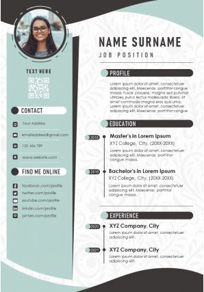 Editable CV Resume Sample A4 Infographic Template