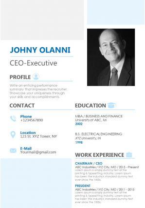 Elegant Resume Template For Professionals CEO Executive