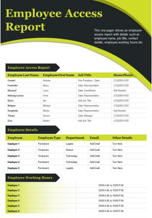 Employee Access Report Presentation Report Infographic PPT PDF Document