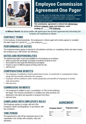 Employee Commission Agreement One Pager Presentation Report Infographic PPT PDF Document