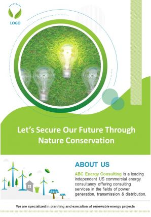 Energy Consultant Brochure Two Page Brochure Template
