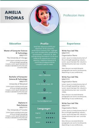 Example Curriculum Vitae Template With Profile Summary And Contact Details