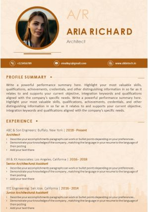 Example CV Template With Career Achievements