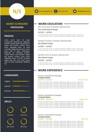 Example Of Curriculum Vitae For Job Application