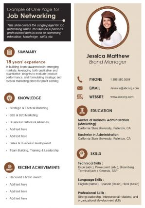 Example Of One Page For Job Networking Presentation Report Infographic PPT PDF Document