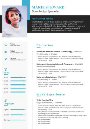 Example Resume CV Template For Data Analyst Specialist
