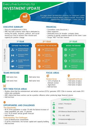 Executive Summary For Investment Update Presentation Report Infographic PPT PDF Document