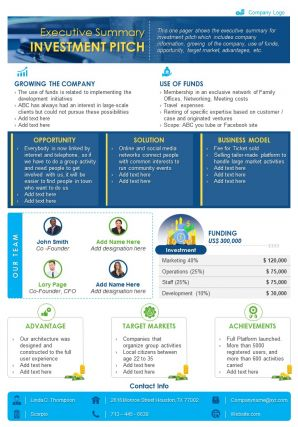 Executive Summary Investment Pitch Presentation Report Infographic PPT PDF Document