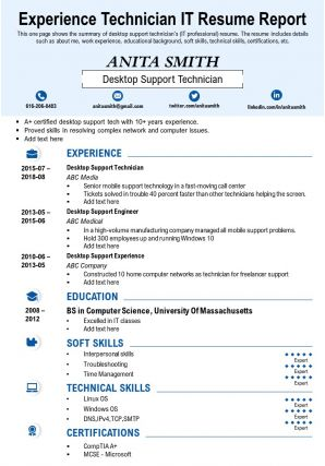 Experience Technician IT Resume Report Presentation Report Infographic PPT PDF Document
