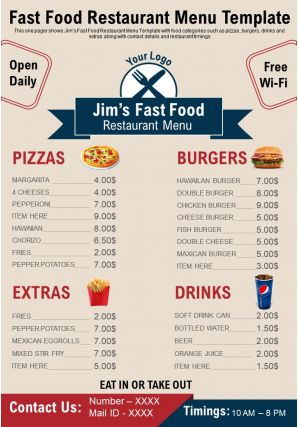 Fast Food Restaurant Menu Template Presentation Report Infographic PPT PDF Document