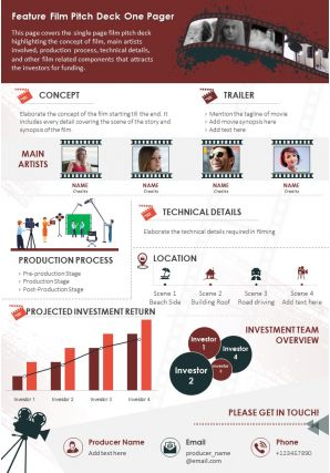 Feature Film Pitch Deck One Pager Presentation Report Infographic PPT PDF Document
