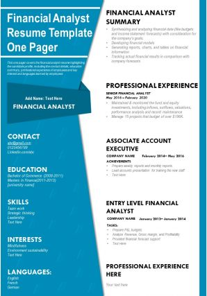 Financial Analyst Resume Template One Pager Presentation Report Infographic PPT PDF Document