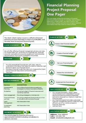 Financial Planning Project Proposal One Pager Presentation Report Infographic PPT PDF Document