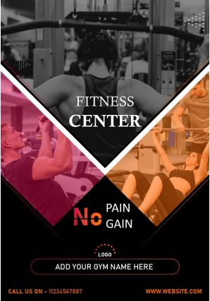 Fitness Gym Business Promotion Flyer Two Page Brochure Template