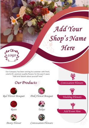 Florist Flyer Two Page Brochure Template