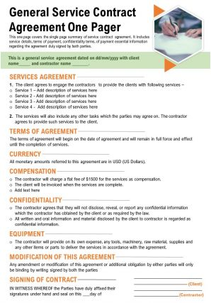 General Service Contract Agreement One Pager Presentation Report Infographic PPT PDF Document