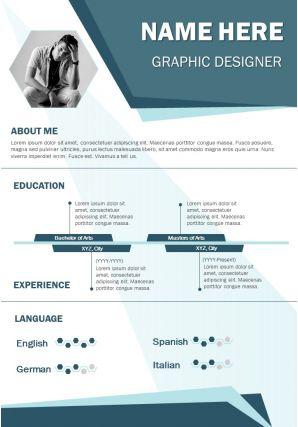 Graphic Designer Curriculum Vitae Business Resume A4