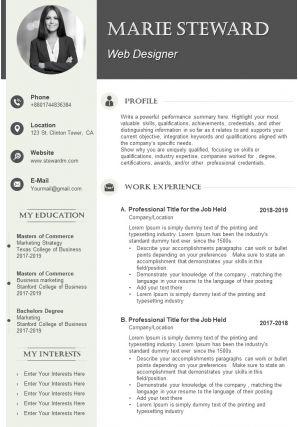 Graphic Designer CV Example Template