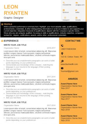 Graphic Designer CV Example With Software Skills