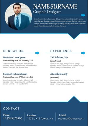 Graphic Designer CV Sample With Achievements And Ability