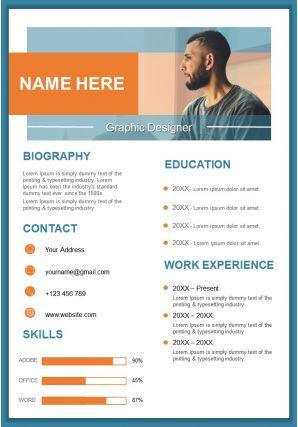 Graphic Designer Resume Design Template Curriculum Vitae Ppt