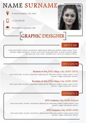 Graphic Designer Sample Resume Template With Skills And Awards