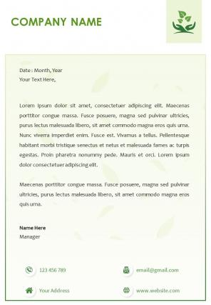 Green Environment One Page Letterhead Design Template