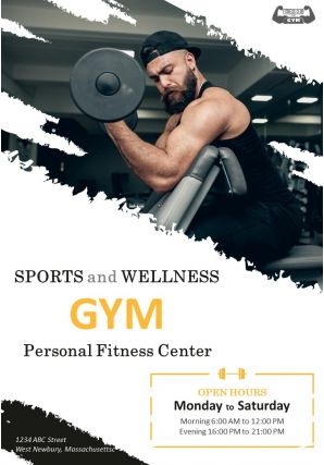 Gym Facilities Four Page Brochure Template